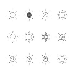Sun icons outline stroke set design illustration black and white color isolated on white background, vector eps10