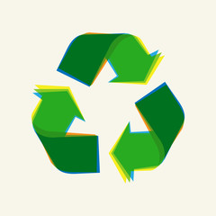 Recycling sign vector illustration. Recycle symbol graphic design.
