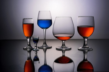 Red and Blue Wine Glasses