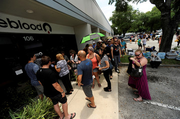 Hundreds of community members line up outside a oneblood clinic to donate blood after an early morning shooting attack at a gay nightclub in OrlandoS