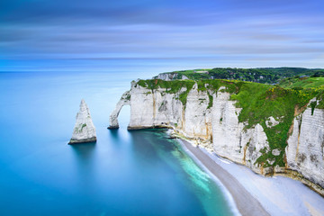Etretat Aval cliff and rocks landmark and ocean . Normandy, France. Fototapete