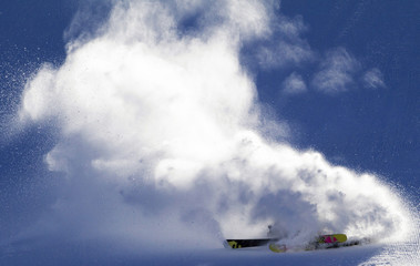 Maria Bagge of Sweden crashes during women's Slope Style Finals at the FIS Freestyle World Championships in Park City