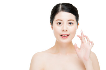 sunburn skin cream lines on woman face