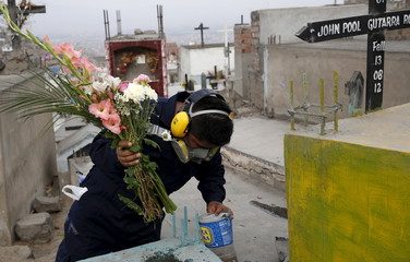 A health worker inspects a makeshift flower vase while searching for mosquito larvae as part of preventive measures against the Zika virus and other mosquito-borne diseases at the cemetery of Carabayllo on the outskirts of Lima