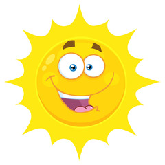 Happy Yellow Sun Cartoon Emoji Face Character With Expression. Illustration Isolated On White Background