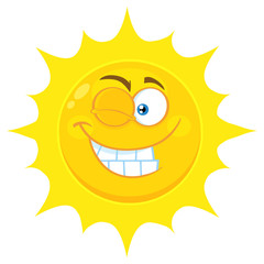 Winking Yellow Sun Cartoon Emoji Face Character With Smiling Expression. Illustration Isolated On White Background