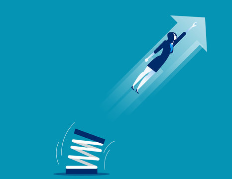 Businesswoman high jump with springboard. Concept business vector illustration