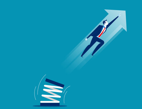 Businessman high jump with springboard. Concept business vector illustration