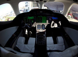 The cockpit of Honda jet is seen at Congonhas airport in Sao Paulo