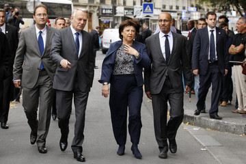 Martine Aubry, the head of the French Socialist Party, France's Prime Minister Ayrault and Socialist party politician Desir arrive to attend the national council of French Socialist party in Paris