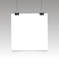 Poster  on binder clip . White notepad paper templates. vector illustration.