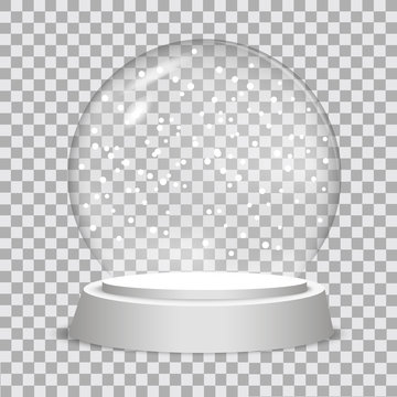 Christmas snow globe on transparent background.  Vector illustration.