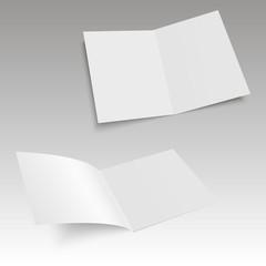 Set of realistic blank opened magazine mockup template. Vector