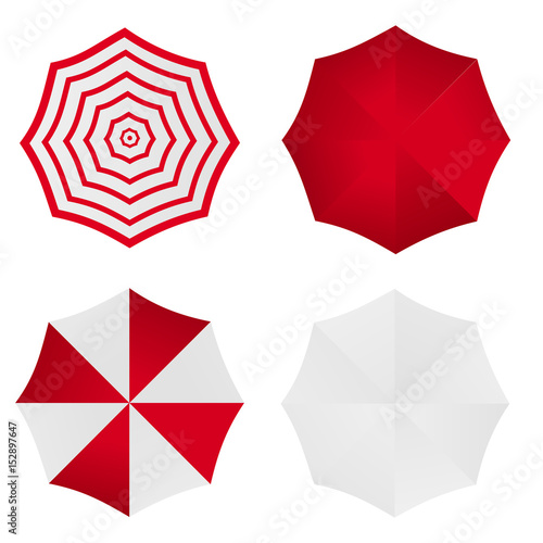 82b5d97b6 Set of white red striped blank classic opened round rain umbrella .Top View  Mock up . Vector