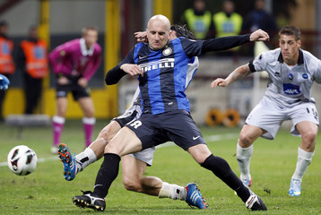 Inter Milan's  Rocchi kicks the ball to score against Atalanta during their Italian Serie A soccer match in Milan