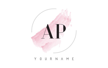 AP A P Watercolor Letter Logo Design with Circular Brush Pattern.