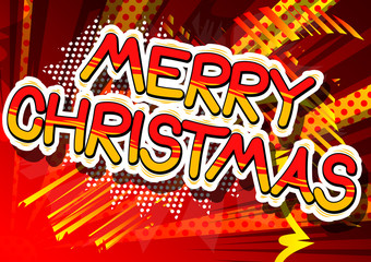 Merry Christmas - Comic book style word on abstract background.