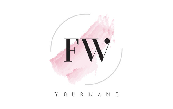 FW F W Watercolor Letter Logo Design with Circular Brush Pattern.