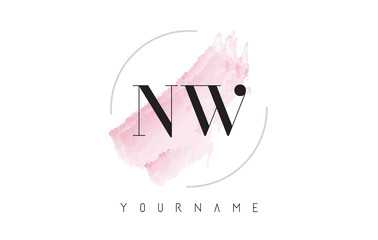NW N W Watercolor Letter Logo Design with Circular Brush Pattern.