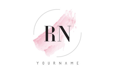 RN R N Watercolor Letter Logo Design with Circular Brush Pattern.