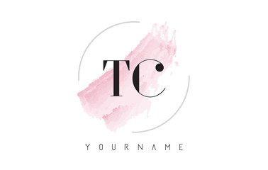 TC T C Watercolor Letter Logo Design with Circular Brush Pattern.