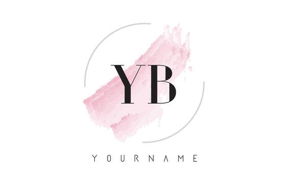 YB Y B Watercolor Letter Logo Design with Circular Brush Pattern.