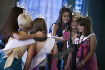 Miss America Nevada contestant supporters take a photo before the preliminary round of the Miss America Pageant in Atlantic City, New Jersey