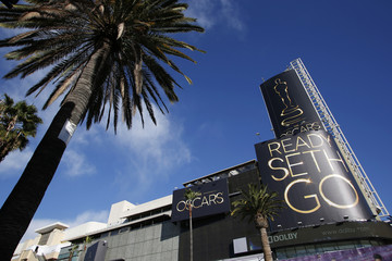 Advertisements for the 85th Academy Awards are seen atop the Hollywood & Highland Center in Hollywood