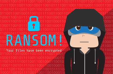 Illustration of hoodie people on background data that encrypted by ransom ware, Wanna Cry malware concept.