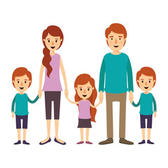 colorful image caricature family with young parents and little kids taken hands vector illustration