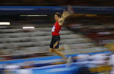 Belgium's Van der Plaetsen competes in the long jump event during the men's heptathlon at world indoor athletics championships in Sopot