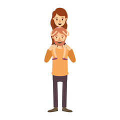 colorful image caricature bearded father with moustache and girl on his back vector illustration