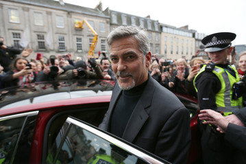 Hollywood actor George Clooney leaves Tiger Liley restaurant in Edinburgh, Scotland