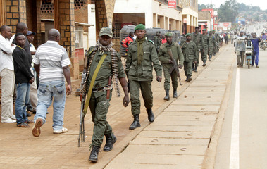 Congolese soldiers patrol to prevent civilians from protesting against the government's failure to stop the killings and inter-ethnic tensions in the town of Butembo