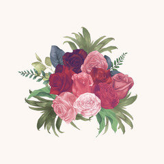 Watercolor Roses Hand Draw Paint Vector