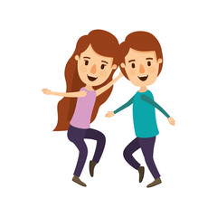 colorful image caricature full body couple dancing vector illustration