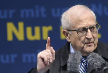 Rainer Bruederle, top candidate for the upcoming general elections of the liberal Free Democratic Party (FDP) speaks during an election campaign rally in Frankfurt