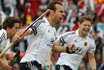 Zeller of Germany celebrates a goal during their final field hockey match against the Netherlands at the men's EuroHockey Championships in Moenchengladbach