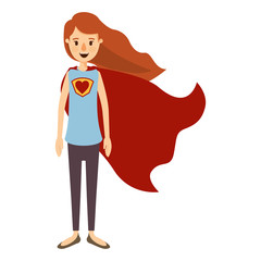 colorful image caricature full body super hero woman with wavy long hair and cap vector illustration