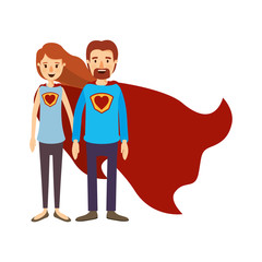 colorful image caricature full body couple super hero with heart symbol in uniform vector illustration