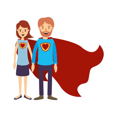 colorful image caricature full body couple parents super hero with heart symbol in uniform vector illustration