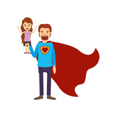 colorful image caricature full body super dad hero with girl on his hand vector illustration