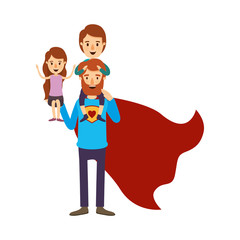 colorful image caricature full body super dad hero with girl on his hand and boy on his back vector illustration