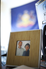 A photograph of Democratic Gubernatorial candidate for Pennsylvania Tom Wolf and his wife, Frances, is displayed in the campaign headquarters in York