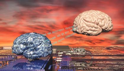 illustration of electronic brain