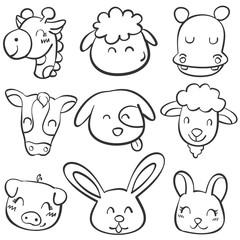 Doodle set animal head style