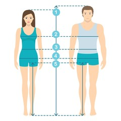 Vector illustration of man and women in full length with measurement lines of body parameters . Man and women sizes measurements. Human body measurements and proportions. Flat design.