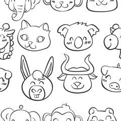 Collection stock of head animal doodles