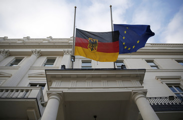 Flags fly at half mast outside Germany's embassy in London