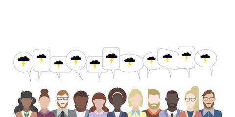 Leute mit Sprechblasen - Gewitterwolke